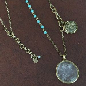 Lucky Brand clear faceted pendant turquoise beads